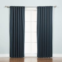 """Best Home Fashion Basic Thermal Insulated Blackout Curtains - Back Tab/Rod Pocket - Navy - 52"""" W x 72""""L – (Set of 2 Panels)"""