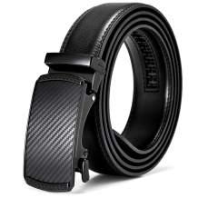 BOSTANTEN Men's Leather Ratchet Dress Belt with Automatic Sliding Buckle