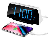 SHANLONYI Digital Alarm Clock Radio with 9 Inch Blue LED Display, 3 Dimmer, Snooze, FM Radio, 12/24H, Auto DST, USB Chargers, Battery Backup for Kids, Heavy Sleepers, Elderly