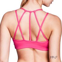 Matymats Women's Strappy Sports Bra Medium Support Active Yoga Bra Tops with Removable Pads Push Up
