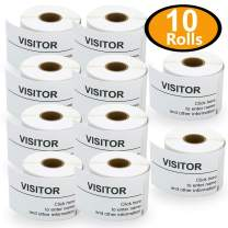 """10 Rolls Dymo 30857 Compatible 2-1/4"""" x 4"""" Visitor Name Tag & Badge Labels,Compatible with Dymo 450, 450 Turbo, 4XL and Many More"""