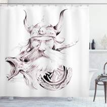"""Ambesonne Tattoo Shower Curtain, Wise Old and Brave Viking Warrior with His Long White Beard and Armour Print, Cloth Fabric Bathroom Decor Set with Hooks, 75"""" Long, Rose White"""