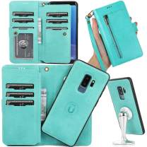 Galaxy S9 Plus Detachable Wallet Case,S9 Plus Case with 9 Card Holder/Strap,Auker Heavy Duty Shockproof Full Body Protection Vintage Leather Fold Stand Flip Magnetic Zipper Pocket Purse Case for Women