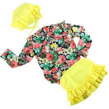 Baby Girls Toddler Kids 3 Pcs Long Sleeve Floral Swimwear Sun Protection Swimsuit Bathing Suits