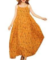 YESNO Women Casual Loose Bohemian Floral Print Empire Waist Spaghetti Strap Long Maxi Summer Beach Swing Dress XS-5X E75