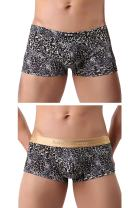 L'ASHER Mens Fashion Sexy Leopard Print U Convex Pouch Boxer Brief Underwear