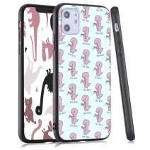 LuGeKe Dinosaur Phone Case for iPhone11, Cute Animal Patterned Dinosaur Design Case Cover,HardPCBackwithTPUBumperAnti-Stratch Bumper Protective Cute Girls Phonecase(Tea-REX)