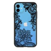 """HUIYCUU Compatible with iPhone 11 Case 6.1"""", Shockproof Cute Slim Fit Anti-Slip Clear Design Flower Pattern Soft Bumper + Hard Back Cover Girl Women Case for iPhone 11 XI, Black Lace"""