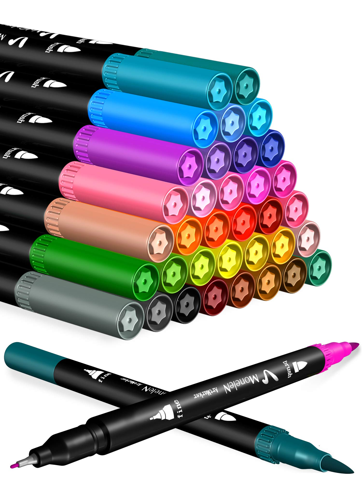 Coloring Markers Set for Adults Kids 36 Dual Brush Pens Fine Tip Art Colored Markers for Adult Coloring Books Bullet Journal Scrapbooking Supplies School Drawing Double Sided Color Marker Pen No Bleed