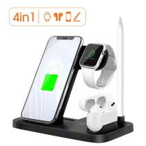 Wireless Charging Station, Xoopar 4 in 1 Qi Fast Wireless Charging Dock for Apple Watch Airpods Pro Pencil, Foldable Charger Stand Holder Compatible with iPhone 11 Pro XR/X/XS Max/iWatch/Airpods 2 Pro