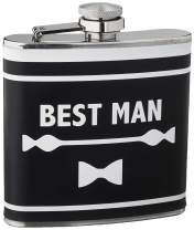Boston Warehouse 87339 Stainless Steel Pocket Flask Best Man, 6-Ounces