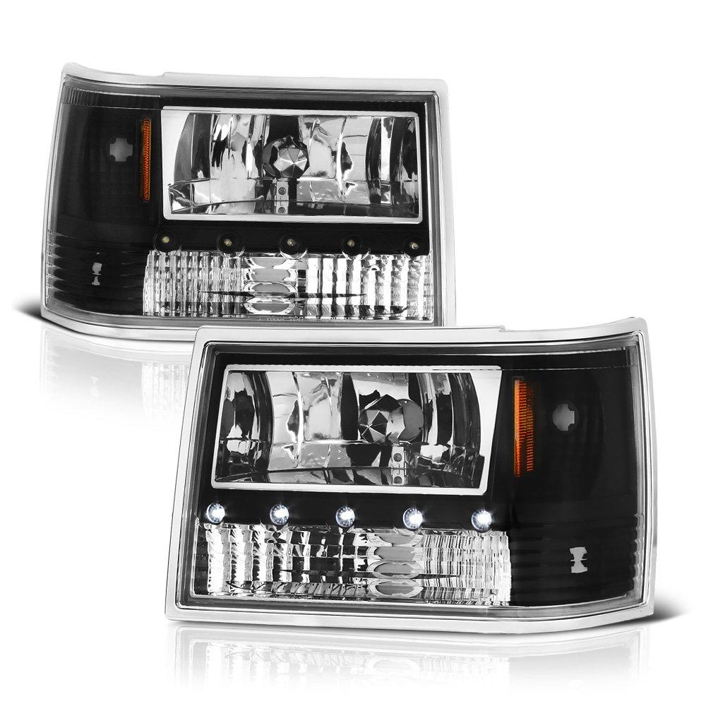 VIPMOTOZ Black Housing LED Strip DRL Headlight Headlamp Assembly For 1993-1998 Jeep Grand Cherokee, Driver & Passenger Side