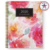 """Softcover Watercolor Floral 8.5"""" x 11"""" Spiral Planner/Organizer, 2020 Monthly and Weekly Spreads, Durable Gloss Laminated Cover, Gpld Wire-o Spiral. Made in The USA"""