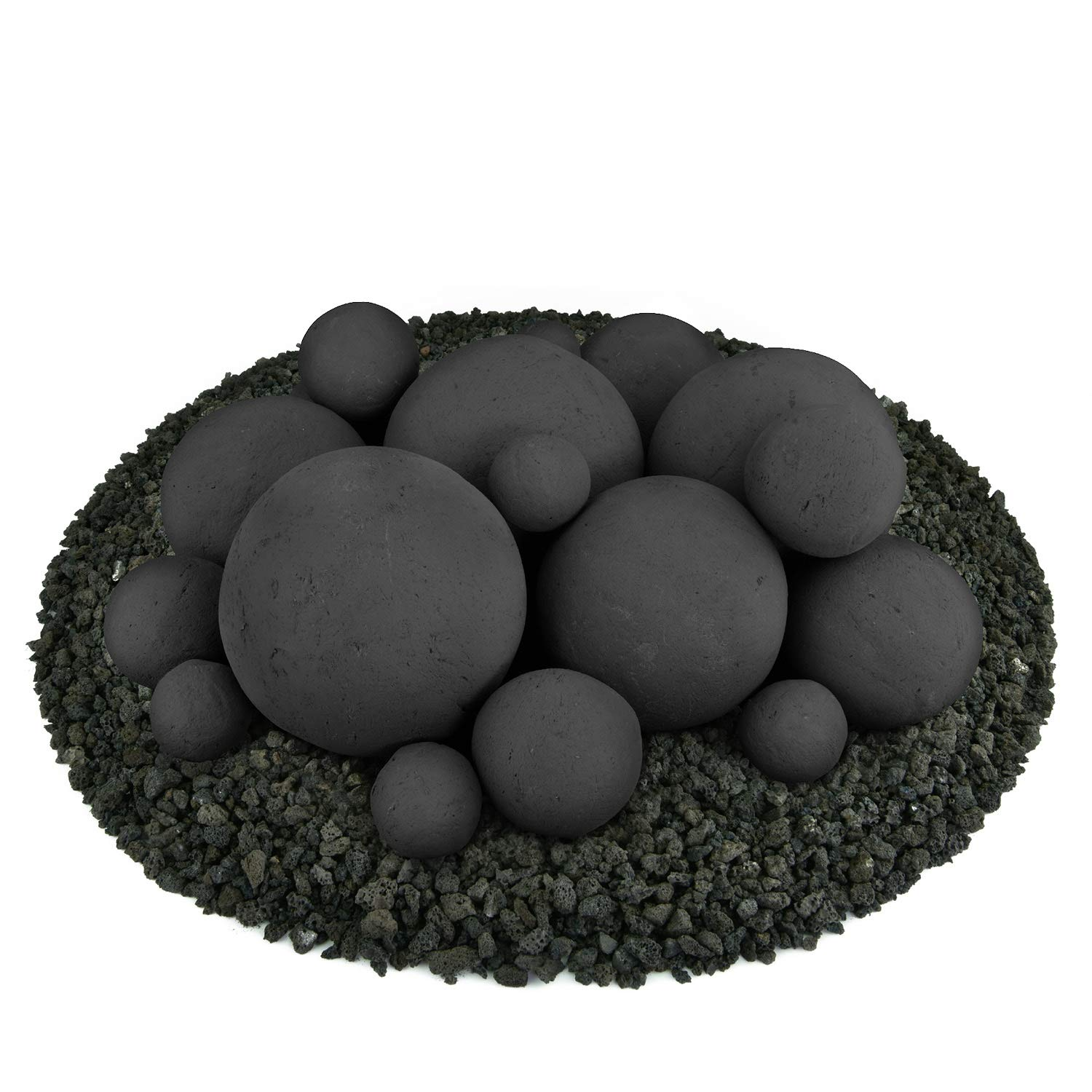 Ceramic Fire Balls | Mixed Set of 18 | Modern Accessory for Indoor and Outdoor Fire Pits or Fireplaces – Brushed Concrete Look | Midnight Black