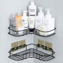 Huryfox 2Pack Corner Shower Caddy Bathroom Shelf, Rust Proof Bathtub Accessories Organizer, Adhesive Basket Storage Rack Shampoo Holder Wall Organization (Large)