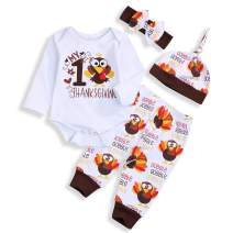Baby Boy Girl My First Thanksgiving Outfits Turkey Print Romper Long Pants Hat Headband Clothes Set