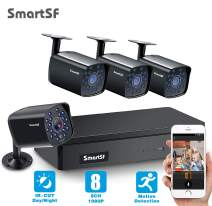 4 Channel H.264+Home Security Cameras System Wired, 4pcs HD 1080P 1.3MP Surveillance Bullet Cameras with CCTV DVR Video Recorder, IP65 Weatherproof for Indoor Outdoor use, Motion Alert Remote Access