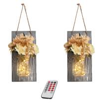 Mason Jar Sconces Wall Decor with Remote -GBtroo Farmhouse Sconces Wall Lighting for Home Living Room Kitchen Bedroom Decoration with 6-Hour Timer LED Lights Flowers,Set of 2(Large, Gray)