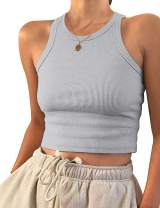 AUSELILY Womens Tank Top Womens Round Neck Basic Racerback Ribbed Tank Top Women