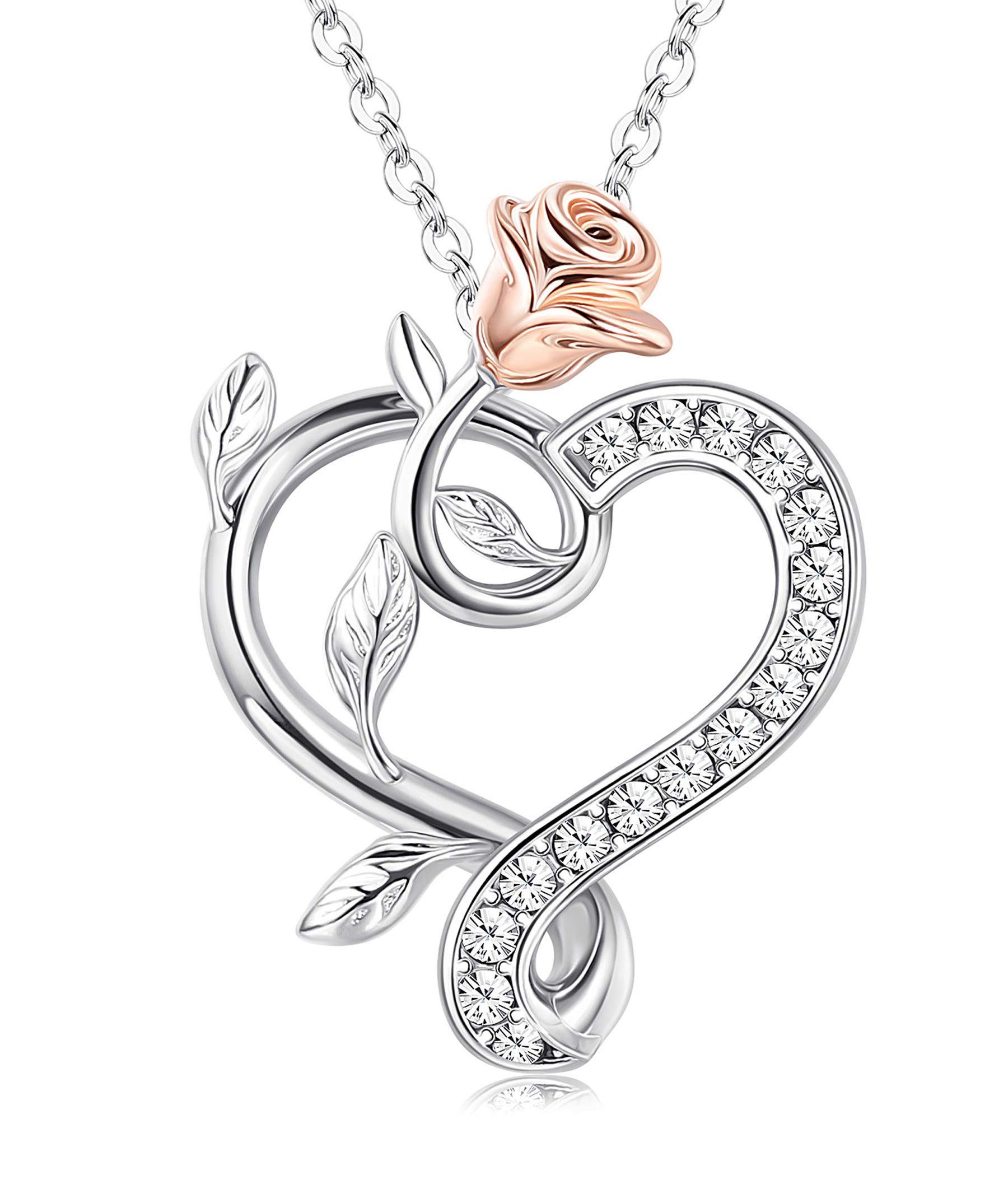 Sllaiss 925 Sterling Silver Rose Heart Crystal Necklace Crystals from Swarovski Rose Flower Pendant Eternal Love Heart Jewelry for Women, Lover Christmas Anniversary Gift with Box