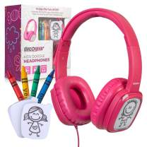 Deco Gear Kids Doodle Coloring Headphones Over-Ear Foldable with Children's Safe Ears Volume Limiter Includes Bonus Crayons (Pink)