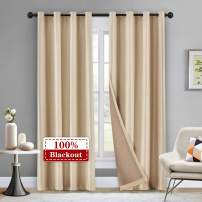 "Beige Velvet Blackout Curtain 102 Inches Long, 100% Blackout Thermal Insulated Curtains for Living Room, Grommet Top Complete Blackout Window Curtain, Set of 1 Panel 100"" W x 102"" L"