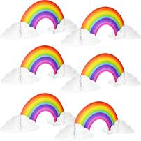 Rainbow Honeycomb Paper Centerpiece No Crease Rainbow Cloud Centerpieces Converting Rainbow Centerpieces for Birthday Baby Shower Decoration (6)