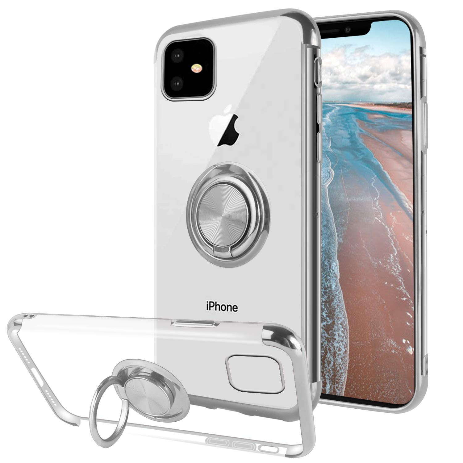 Ownest Compatible with iPhone 11 Case with Built-in 360 Rotatable Ring Kickstand Fit Magnetic Car Mount and Clear Slim TPU for iPhone 11(6.1 Inch)-(Silver)