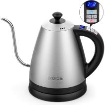 Electric Kettle with Variable Temperature Control, 1.2L Gooseneck Pour-Over Kettle for Drip Coffee and Tea, BPA-Free 304 Stainless Steel Kettle with LCD Display and Keep Warm Function Kettle, 1000W