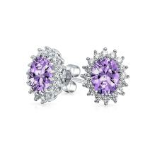 Vintage Style 3CT Crown Halo Purple Blue Green Simulated Gemstone AAA CZ Stud Earrings For Women 925 Sterling Silver
