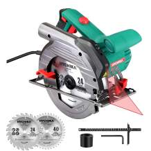 "Circular Saw, HYCHIKA 1500W Electric Saw with 6 Adjustable Speeds 2200-4700RPM, 2Pcs Blades(24T+ 40T): 7-1/2"", Max Cutting Depth 2-1/2""(90°), 1-4/5""(45°), Laser Guide, Pure Copper Motor"
