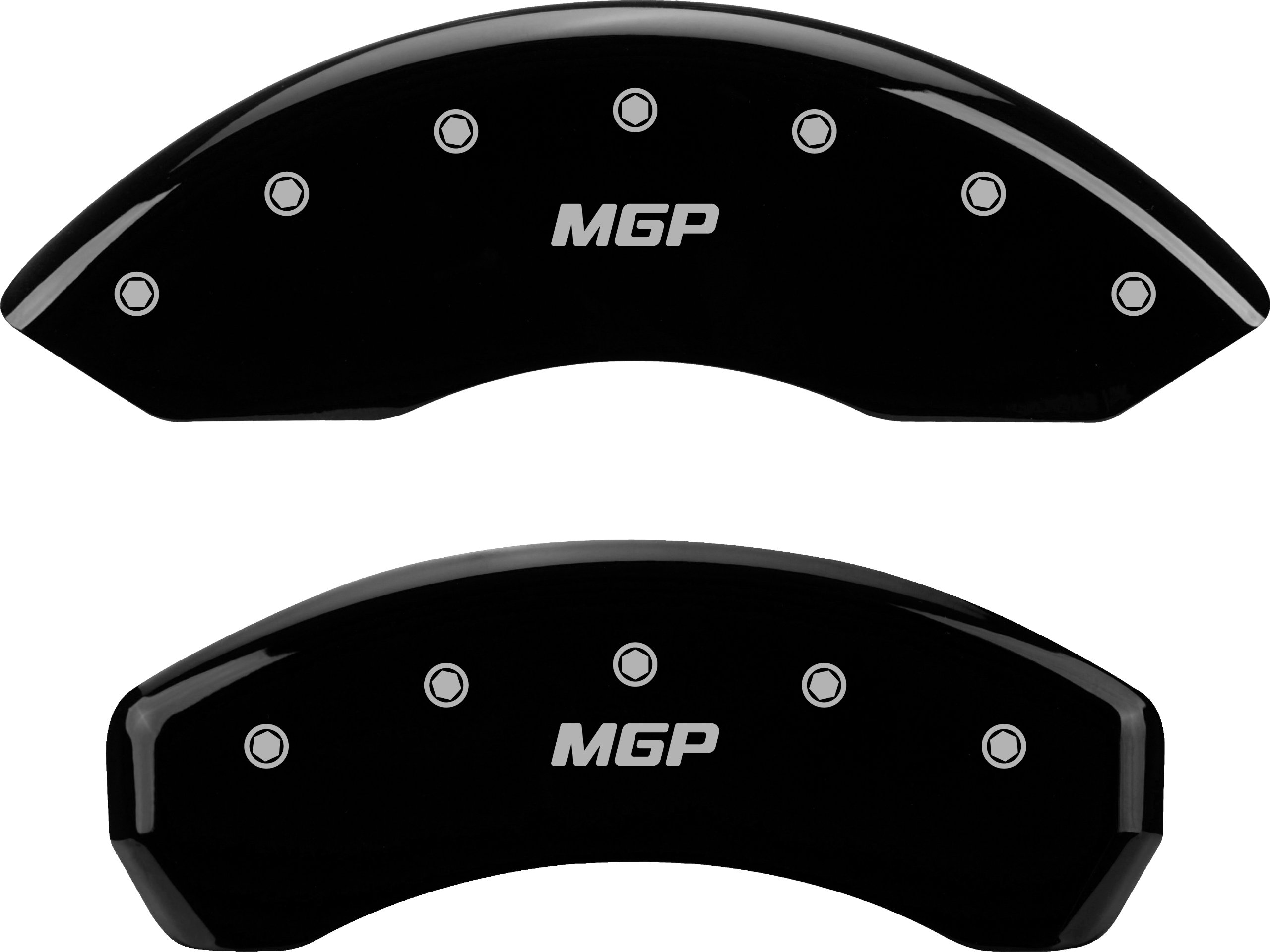 MGP Caliper Covers 12001SMGPBK 'MGP' Engraved Caliper Cover with Black Powder Coat Finish and Silver Characters, (Set of 4)