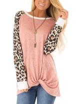 SHIBEVER Leopard Printed Blouses for Women Causal Summer Striped Leopard Tops Short Sleeve Block Junior Tunics Top