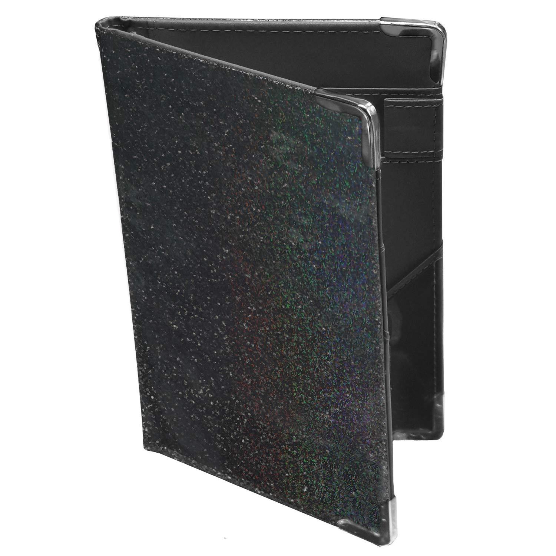 Holographic Glitter Black Server Book Organizer for Waitress | 10 Pockets, 4 Metal Protective Corners, Zipper Pouch and Pen Holder | Waiter Waitress Wallet for Restaurant waitstaff | Black