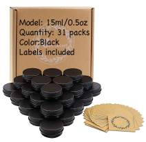 0.5oz/15ml Black Aluminum Tin Jar with Screw Lid