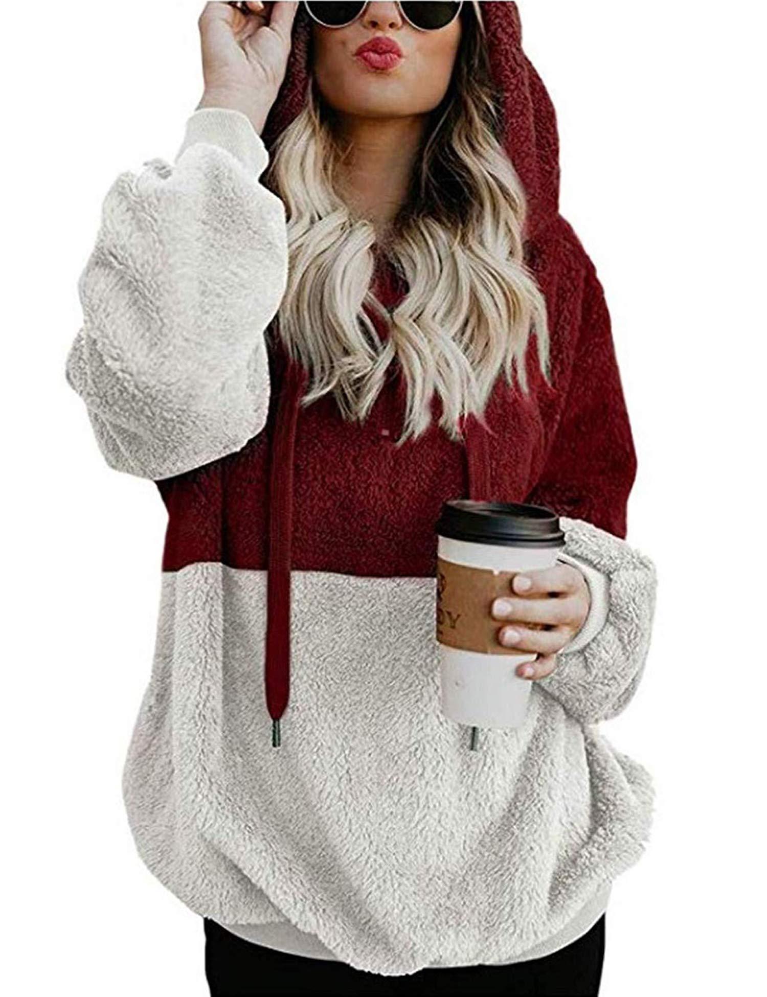 LOMON Sweatshirt Women Oversized Faux Fleece Double Fuzzy Pullover Hoodies Casual Loose Outwear Coat with Pocket