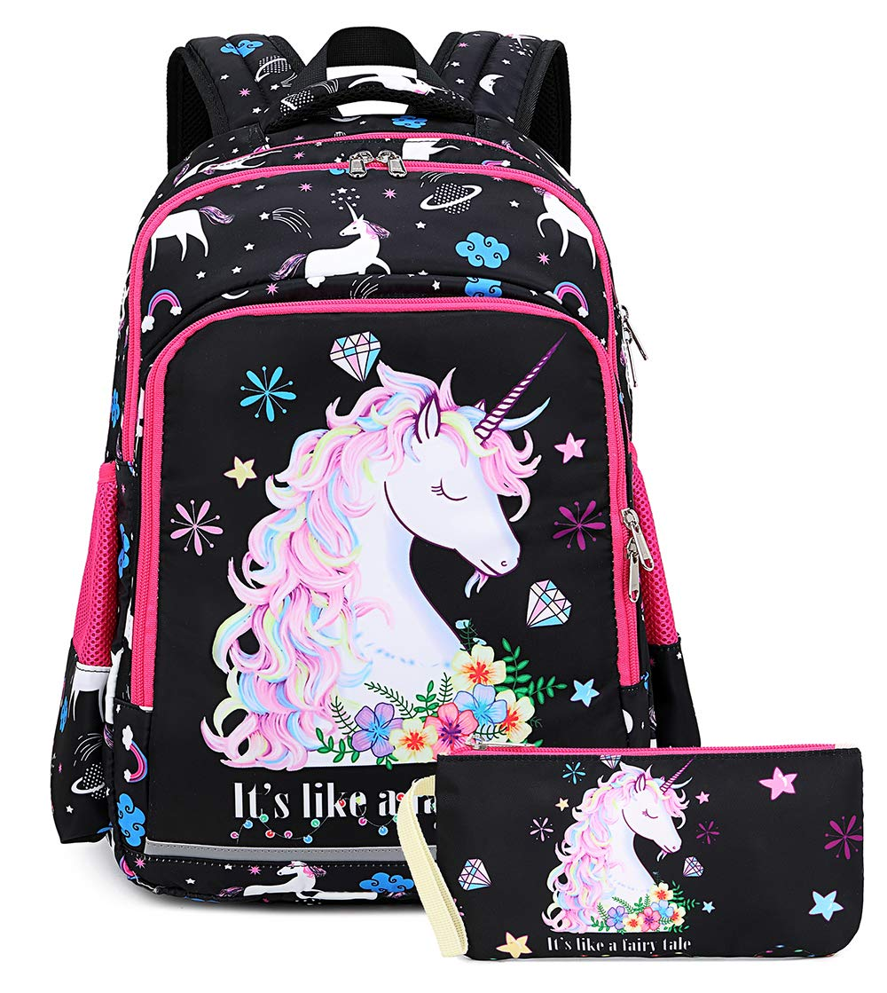 Girls Backpack for Kids Elementary Bookbag Girly School bag with Purse Pouch Children Laptop Bag (Space Black)