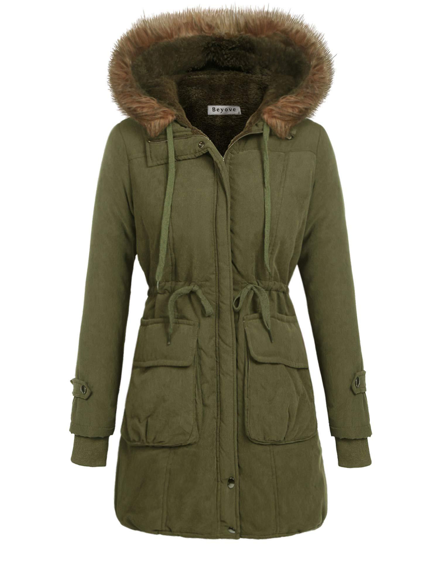 Beyove Women Winter Coats Military Hooded Warm Faux Fur Lined Jacket Parka Anroak Long Coats S-XXL