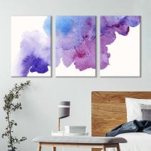 "wall26 - 3 Panel Canvas Wall Art - Purple and Blue Rising Smoke Watercolor Decor - Giclee Print Gallery Wrap Modern Home Decor Ready to Hang - 16""x24"" x 3 Panels"