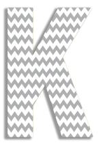The Stupell Home Decor Collection Gray Chevron Hanging Wall Initial, 18-Inch, K