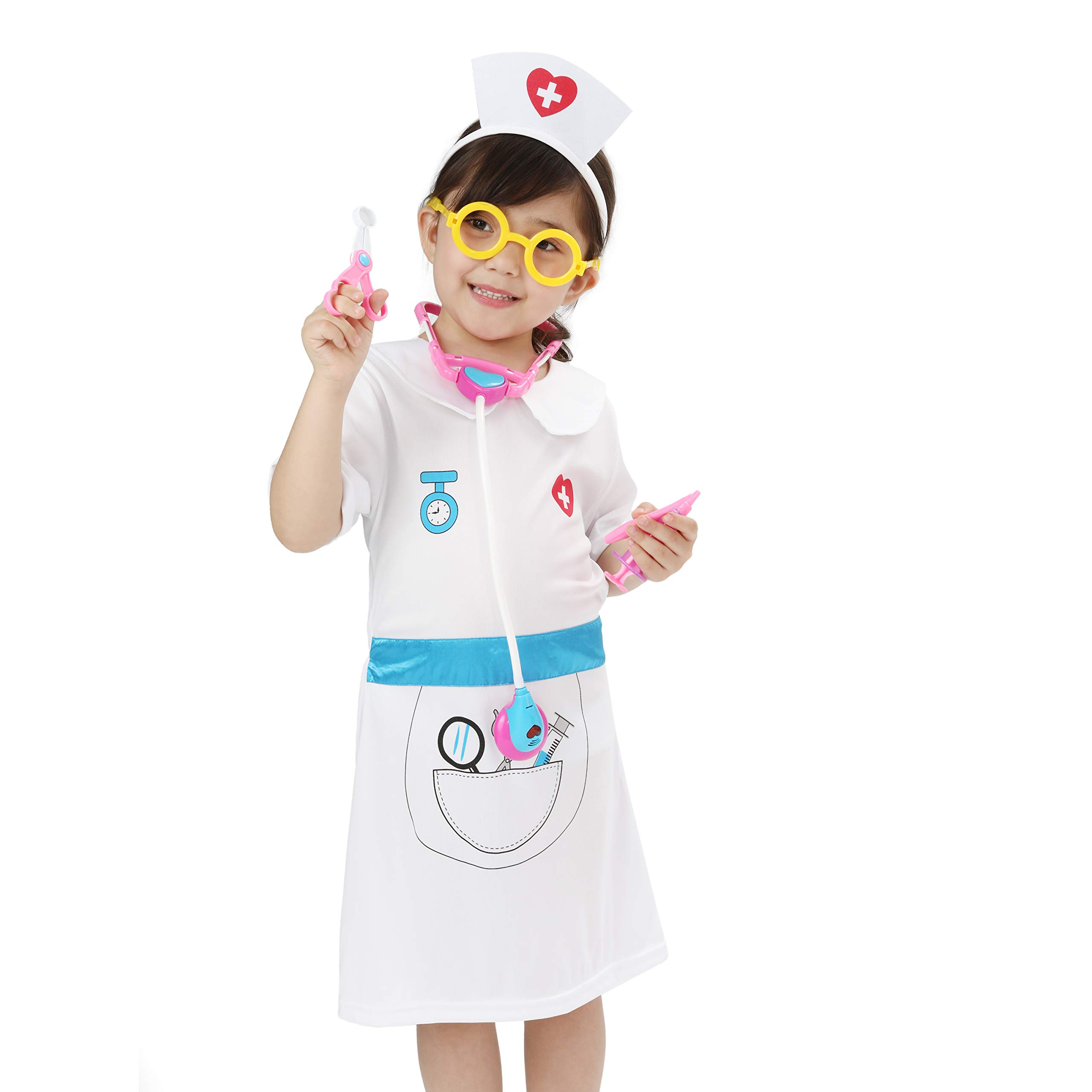 Wizland Child Role Play Dress Up Nurse Costume Playset for Kids,Doctor Nurse Medical Kits,7 pcs with Coat,Hat,Glasses,Stethoscope,Thermometer,Syringe,Scissors,for Age 3-6
