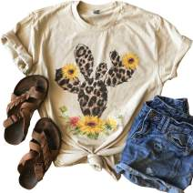 GEMLON Cactus Shirt Sunflower Cute Graphic T-Shirt Women Short Sleeve Flower Print Summer Casual Blouse Tee