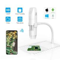 Wireless Digital Microscope,ROTEK WiFi USB Microscope Camera 50x and 1000x Zoom HD 1080P with Professional Lift Stand,Pocket Handheld Microscope Compatible for iPhone Android, iPad Windows MAC White