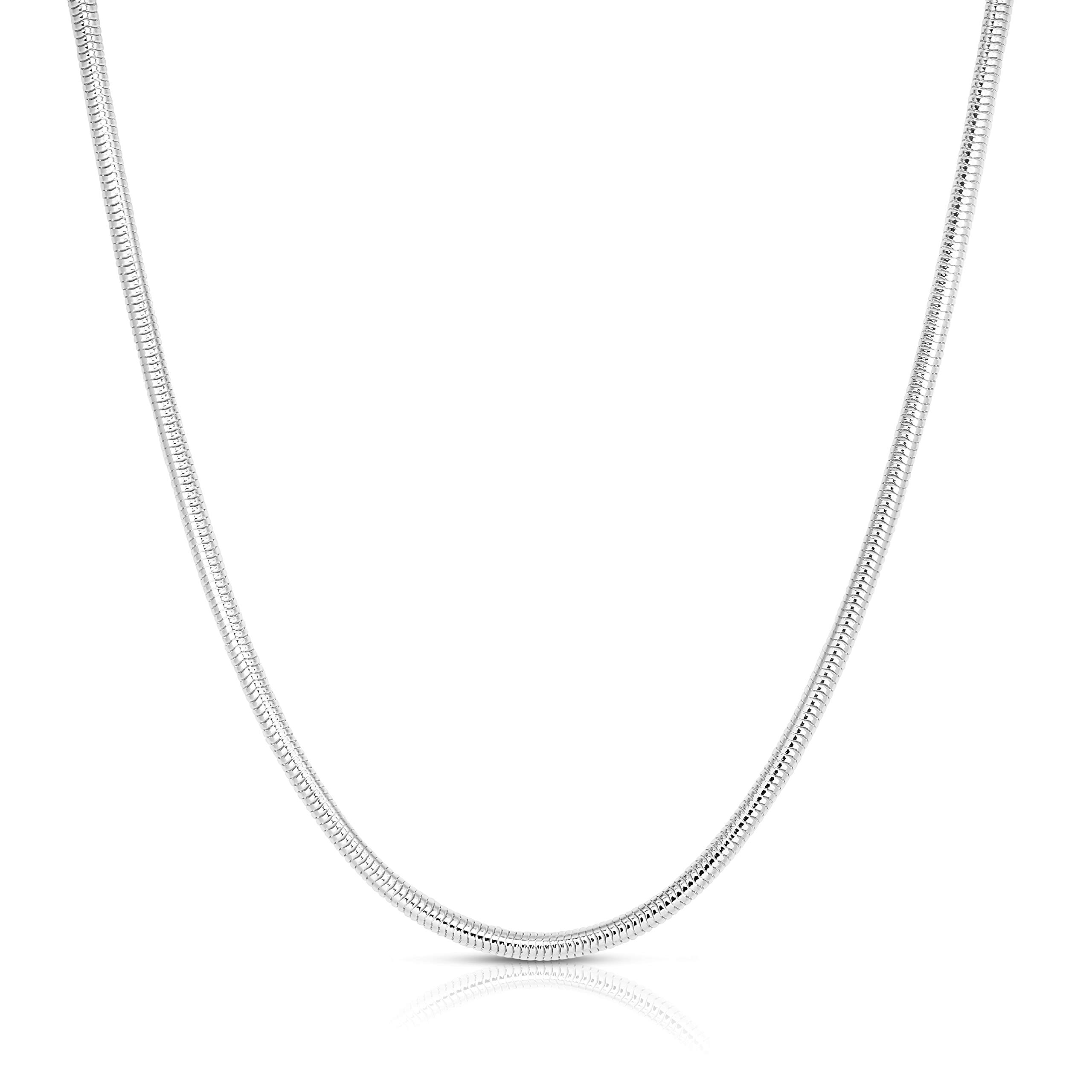 ARGENTO REALE 925 Sterling Silver 2MM-5MM Snake Chain Necklace, Round Flexible Italian Snake Chain Necklace 16-30