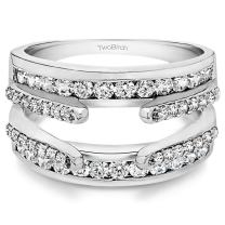 TwoBirch 10K Gold Combination Cathedral and Classic Ring Guard With White Diamonds(G,I2) (0.5 ct.)
