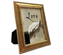 VERSERIES Love Picture Frame - Traditional Fancy & Modern Style | Bible Verse Christian Gift and Art Canvas Photo Frame for Side Table, Desk, Wall Decorations (Rustic Gold Frame, Set of 1)