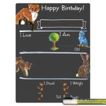 Cohas Birthday Milestone Board with Woodland Theme, Reusable Chalkboard Style Surface, and Liquid Chalk Marker, 9 by 12 Inches, White Marker