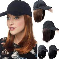 "SLLIE 8"" Baseball Hat with Hair Bob Style Hair with Hats Attached Synthetic Baseball Cap with Hair Black Hat with hair Short Bob Hair Wig for Women"