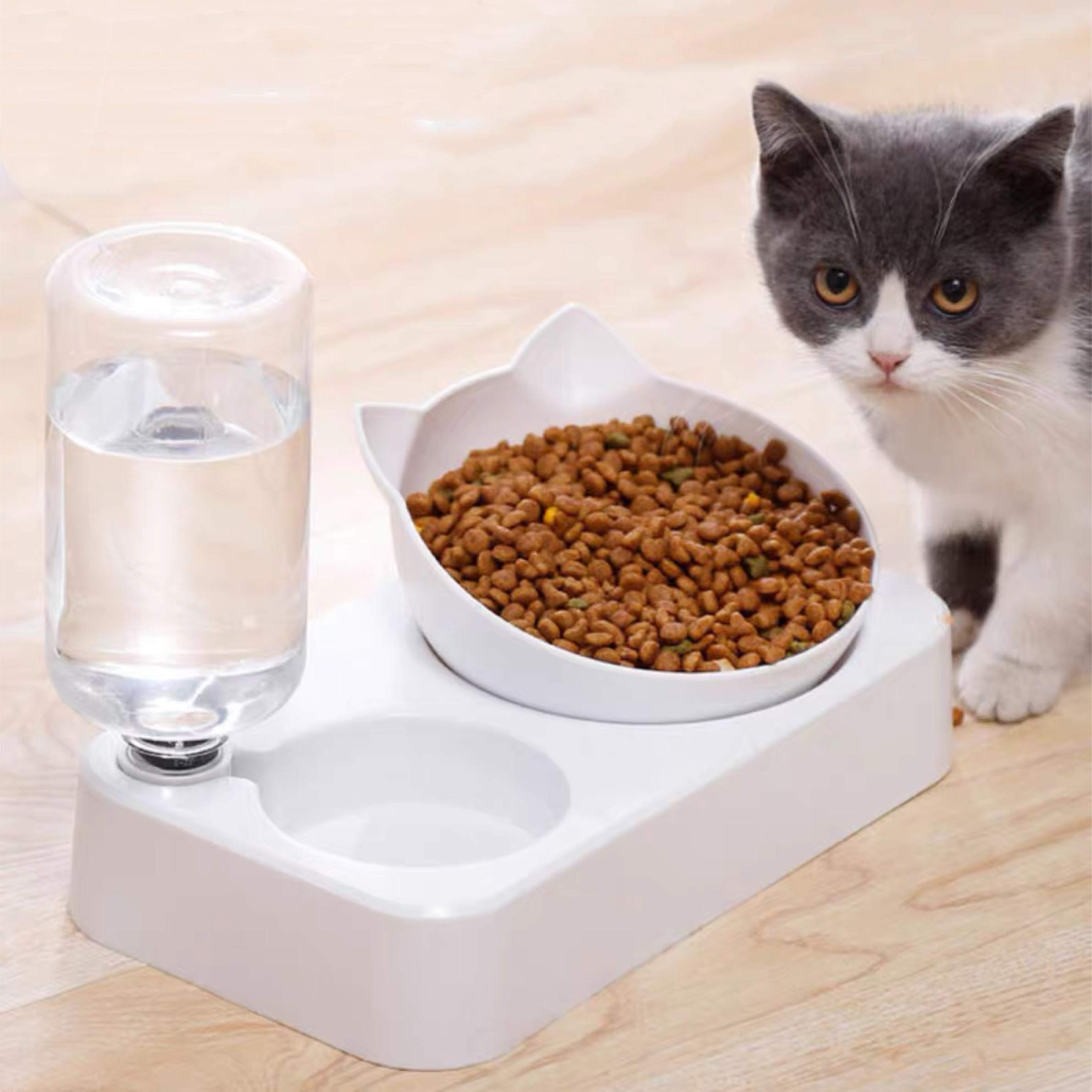 YEIRVE Cat Dog Bowls with Raised Stand - Anti-Vomiting, 15° Tilted Food and Water Bowl Set, Automatic Drinking Bowl, Healthy & Hygienic Feeder Bowls Bowl.