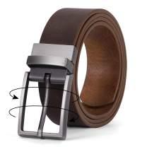 Men's Belt, Leather Reversible Belt for Men Black and Brown Dress Belt Rotate Buckle Gift Box